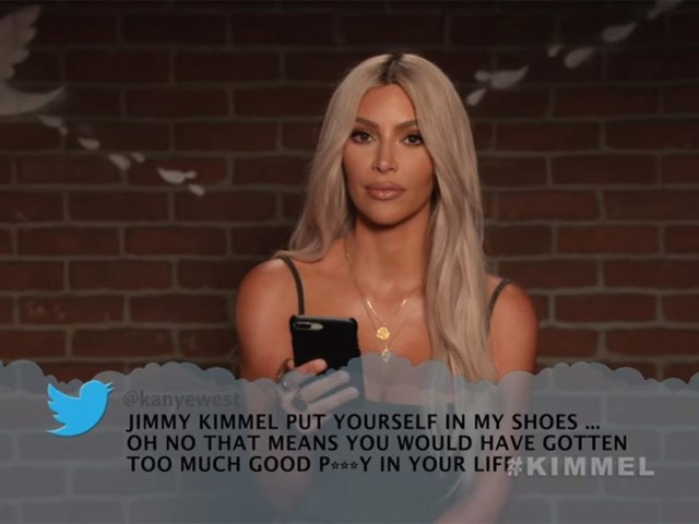 Kim Kardashian Reads Kanye West's 'Mean Tweet' About Jimmy Kimmel for Birthday Show
