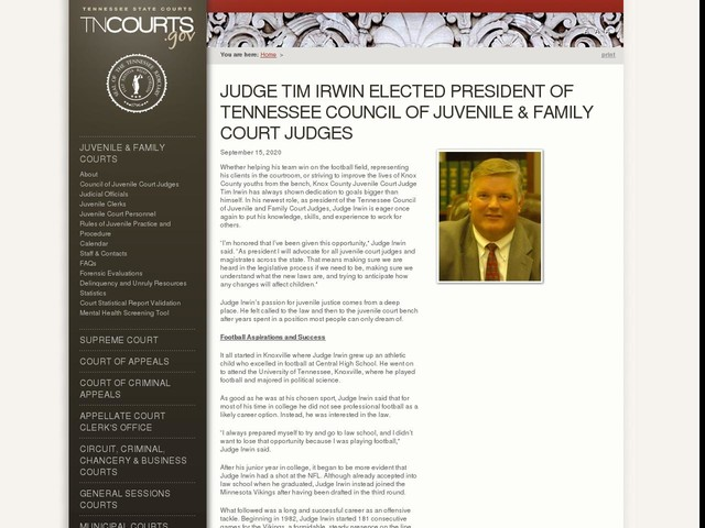 Judge Tim Irwin Elected President of Tennessee Council of Juvenile & Family Court Judges