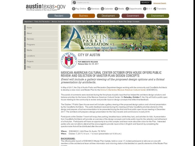 Mexican American Cultural Center October Open House Offers Public Review and Selection of Master Plan Design Concepts