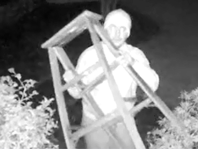 Suspect Caught On Video Carrying Ladder To Bedroom Window