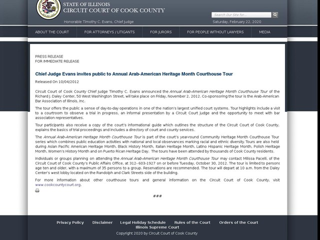 Chief Judge Evans invites public to Annual Arab-American Heritage Month Courthouse Tour