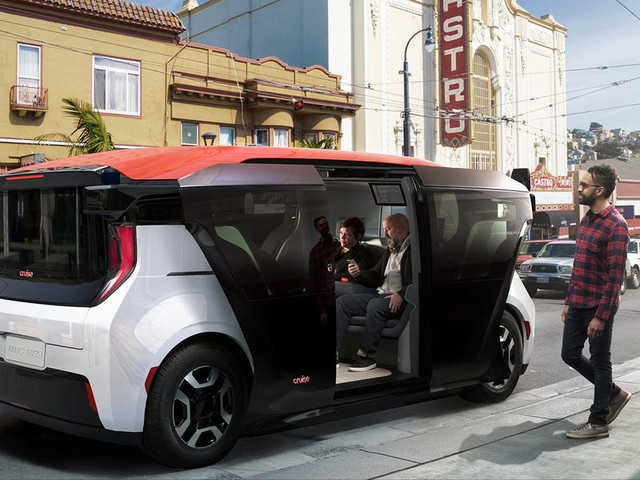 Take a closer look at the Cruise Origin — a fully self-driving vehicle manufactured by GM that doesn't have a steering wheel and would never need a human operator (GM)