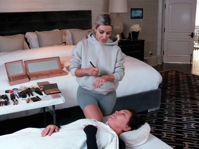 Kim Kardashian West Practices Mortician Makeup on Kris
