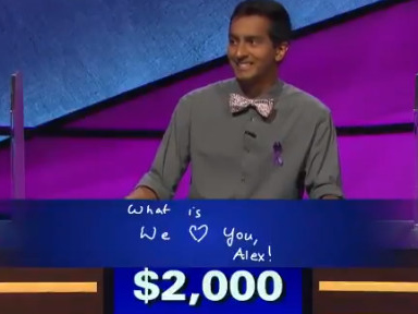 A 'Jeopardy!' contestant paid tribute to Alex Trebek and moved him to tears
