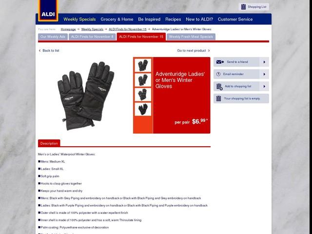 Adventuridge Ladies' or Men's Winter Gloves