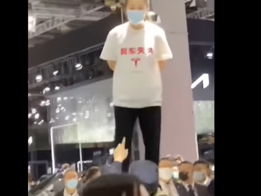 "Watch: Protestor At Shanghai Auto Show Climbs On Tesla, Screams ""Brake Failure"", In Now-Viral Video"
