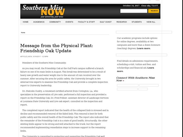 Message from the Physical Plant: Friendship Oak Update