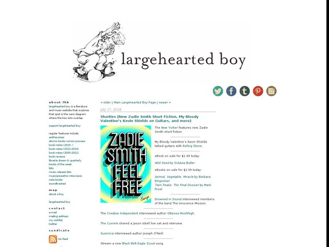 Shorties (New Zadie Smith Short Fiction, My Bloody Valentine's Kevin Shields on Guitars, and more)