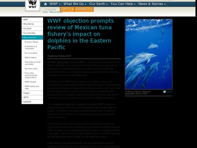 WWF objection prompts review of Mexican tuna fishery's impact on dolphins in the Eastern Pacific