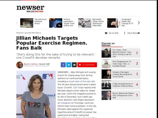 Jillian Michaels Targets Popular Exercise Regimen. Fans Balk