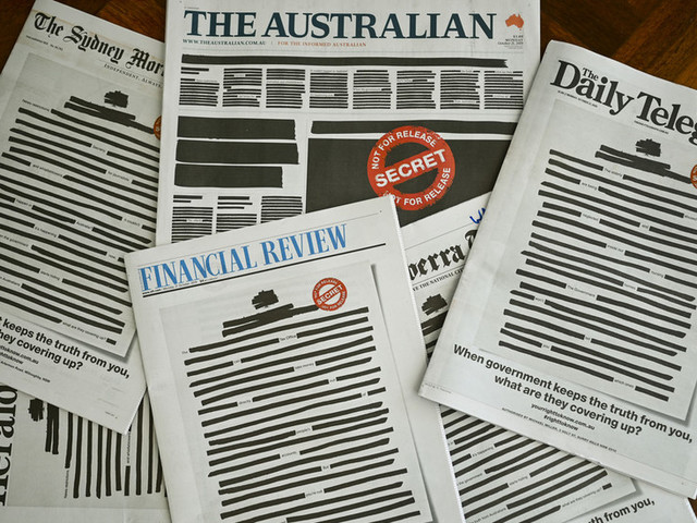 Australian media stages front-page 'blackout' to protest against govt clampdown on press freedom