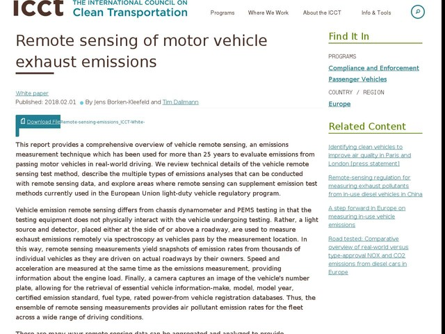 Remote sensing of motor vehicle exhaust emissions