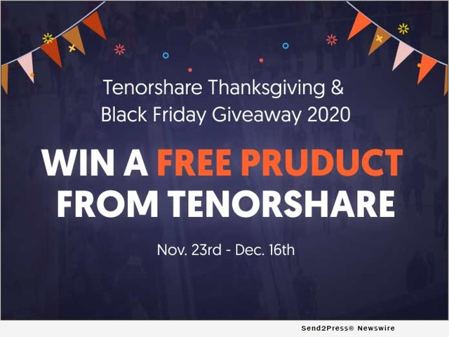 Tenorshare Announces Giveaways for Thanksgiving and Black Friday 2020
