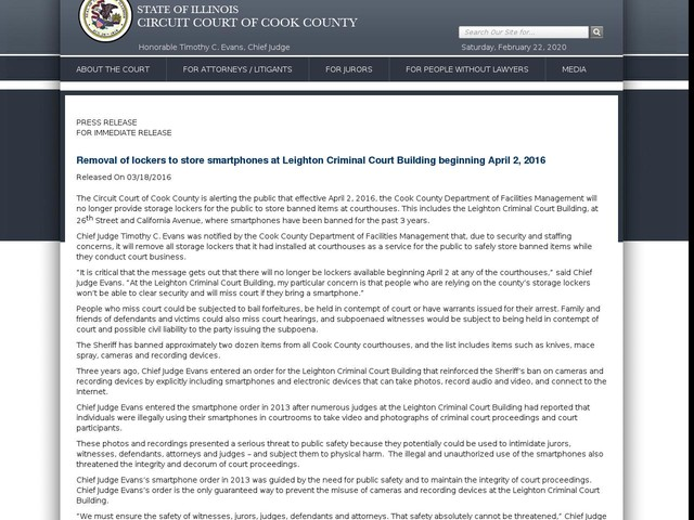 Removal of lockers to store smartphones at Leighton Criminal Court Building beginning April 2, 2016