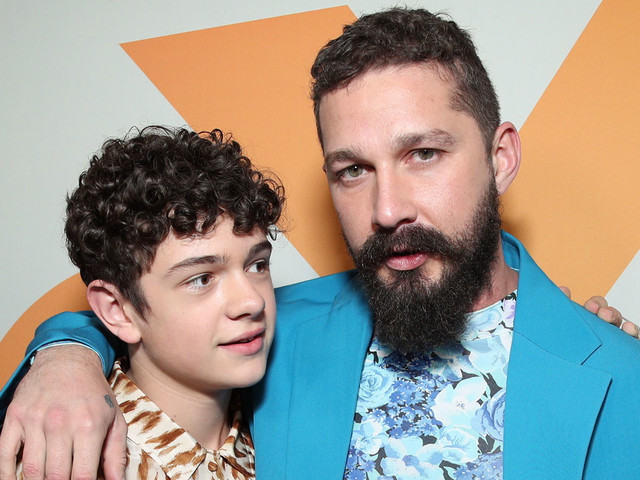 Shia LaBeouf Wears an Over-Sized Blue Suit at 'Honey Boy' Premiere with Noah Jupe
