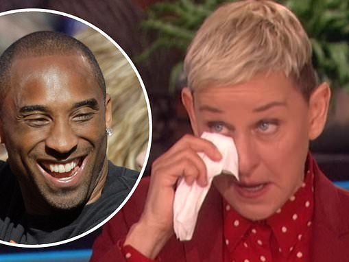 Ellen DeGeneres breaks down as she discusses the death of friend Kobe Bryant