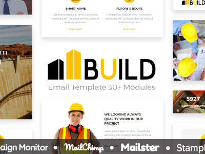 Build - Responsive Email Template 30+ Modules - StampReady Builder + Mailster & Mailchimp Editor (Newsletters)