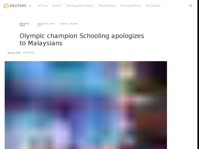 Olympic champion Schooling apologizes to Malaysians