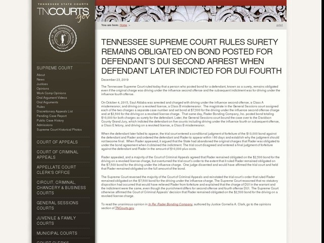 Tennessee Supreme Court Rules Surety Remains Obligated On Bond Posted For Defendant's DUI Second Arrest When Defendant Later Indicted for DUI Fourth