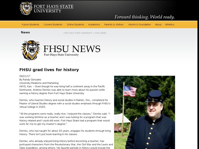 FHSU grad lives for history