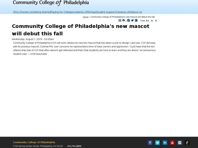 Community College of Philadelphia's new mascot will debut this fall