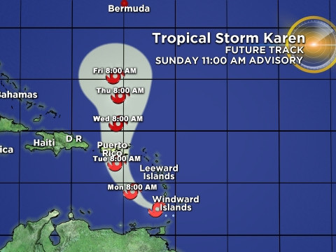 Tropical Storm Karen Bringing Gusty Winds, Heavy Rainfall To Parts Of Southern Windward Islands