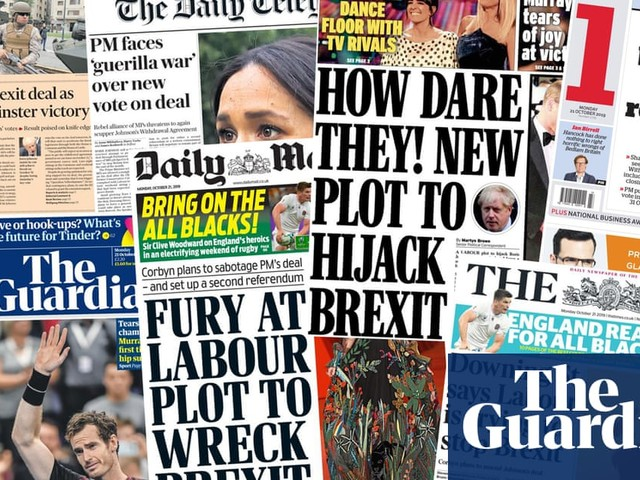 'How dare they!': what the papers say about the battle over Johnson's Brexit deal