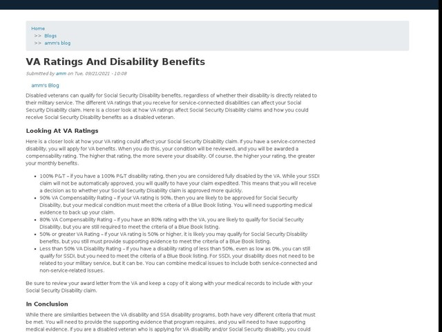 VA Ratings And Disability Benefits