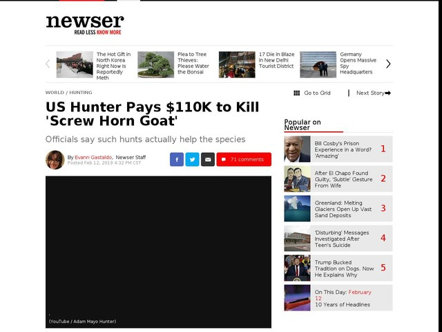 US Hunter Pays $110K to Kill 'Screw Horn Goat'