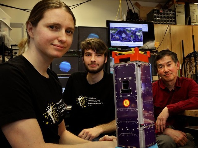 Now in space, a cutting-edge satellite the size of a shoebox, and UW students built it