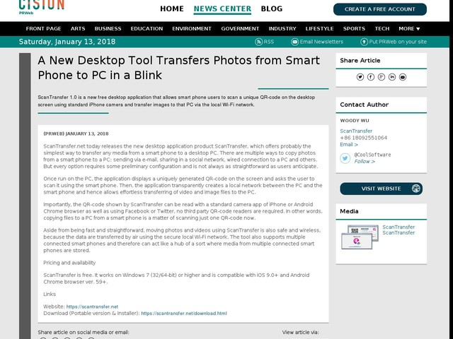 A New Desktop Tool Transfers Photos from Smart Phone to PC in a Blink