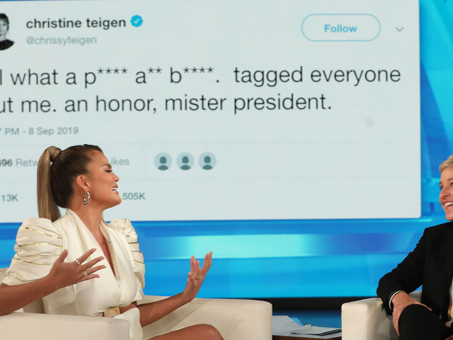 Chrissy Teigen Tells Ellen the Story Behind Her Trump Feud