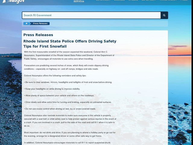 Rhode Island State Police Offers Driving Safety Tips for First Snowfall
