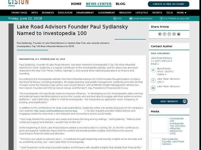 Lake Road Advisors Founder Paul Sydlansky Named to Investopedia 100
