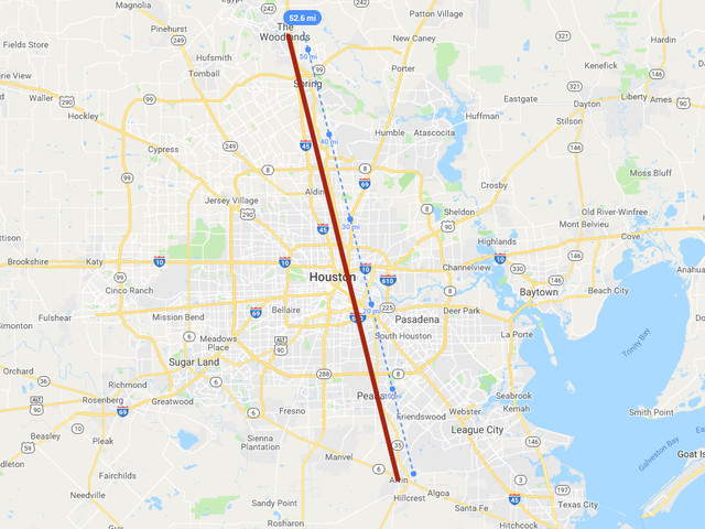 A drive across Houston could take you across these states, countries