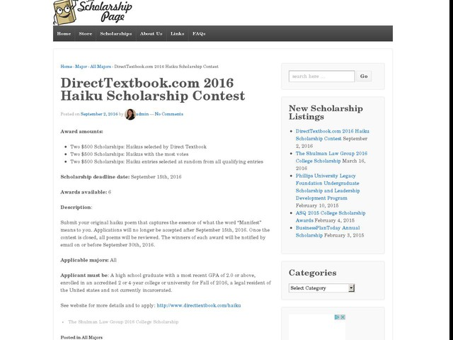 directtextbook.com 2012 scholarship essay contest