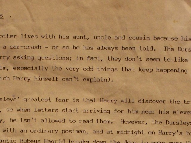 The original synopsis of Harry Potter that J.K. Rowling sent to publishers has been revealed — here's the first page