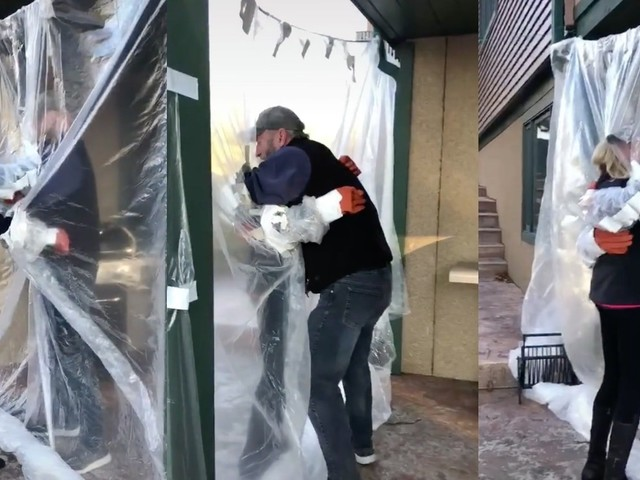 Viral TikTok video shows family hugging through plastic screen after uncle's death