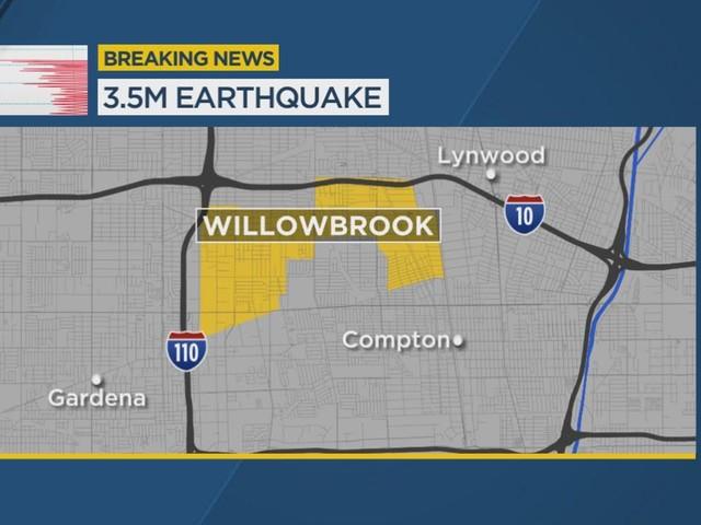 Magnitude 3.5 earthquake hits near Willowbrook area, felt across SoCal