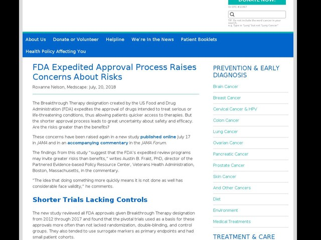 FDA Expedited Approval Process Raises Concerns About Risks