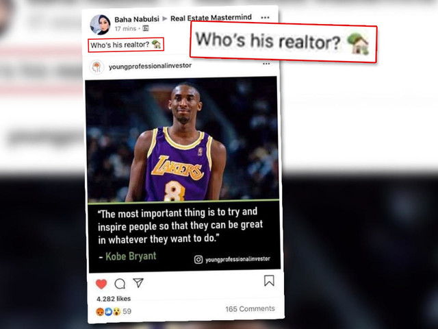 An eXp agent made a thoughtless joke after Kobe Bryant's death. She was fired
