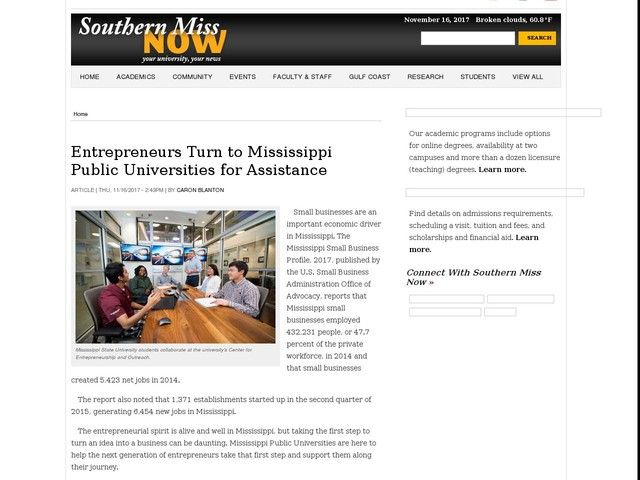 Entrepreneurs Turn to Mississippi Public Universities for Assistance