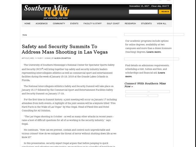 Safety and Security Summits To Address Mass Shooting in Las Vegas