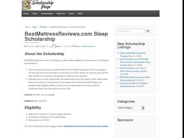 BestMattressReviews.com Sleep Scholarship