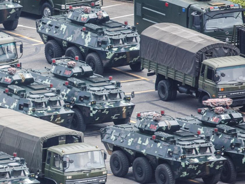 Chinese Paramilitary Troops, Tanks Hold Threatening Exercises At Shenzen Sports Stadium