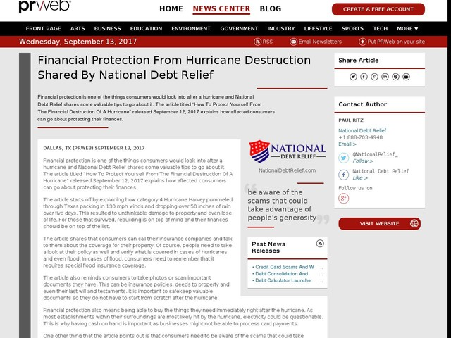 Financial Protection From Hurricane Destruction Shared By National...
