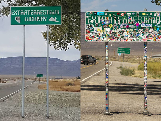 'Extraterrestrial Highway' sign reappears after Storm Area 51 events
