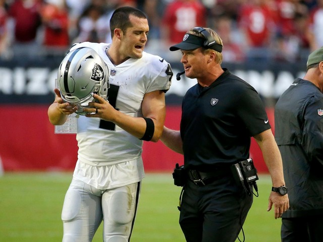 'Everything's good, I promise': Derek Carr and Jon Gruden downplay a sideline dustup