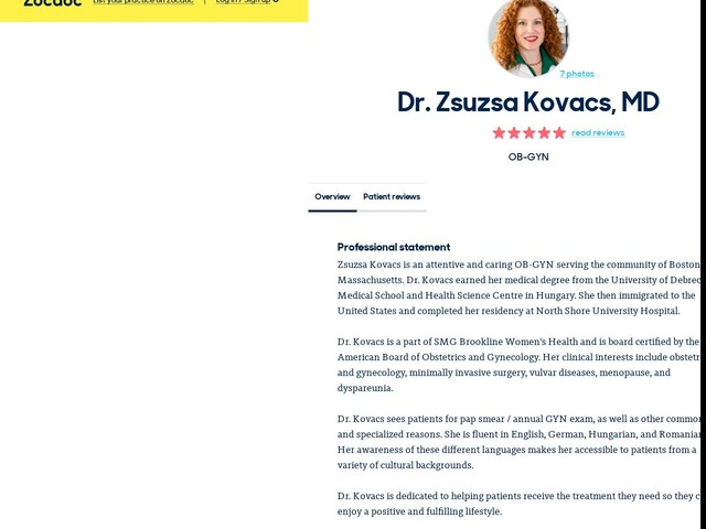 Verified ZocDoc User (name withheld for privacy)'s Review of Dr. Zsuzsa Kovacs - MD (4/5) on ZocDoc