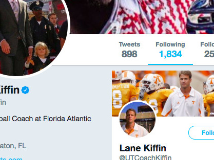 Lane Kiffin follows 'UT Coach Kiffin' on Twitter because he's gonna troll Tennessee forever